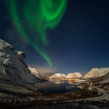 Aurora over Bergsbotn fjord among snowy mountains, Senja, Norway sur Wojciech Kruczynski