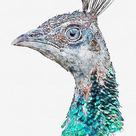 Portret van een pauw (kunstwerk) van Art by Jeronimo
