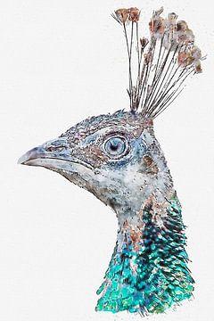 Portret van een pauw (kunstwerk) van