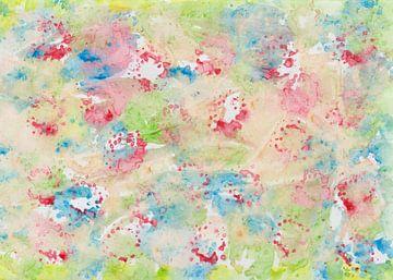 Abstracte aquarel met kleurvlekken in groen, blauw, roze, oker, geel van Heike Rau
