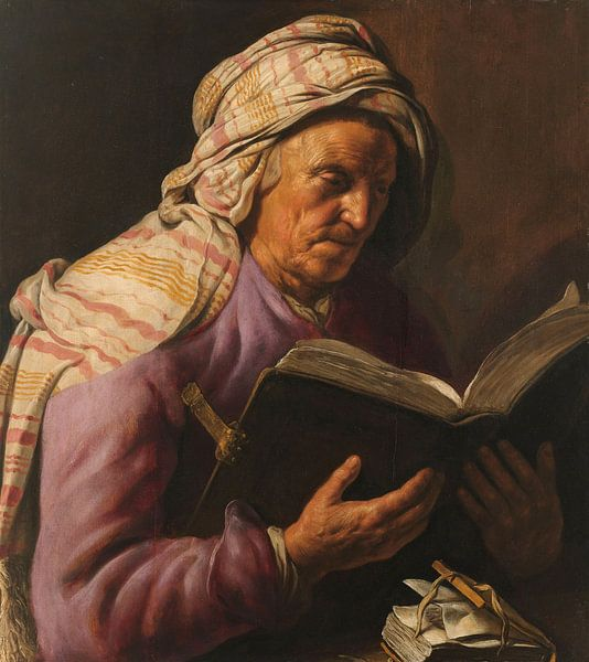 Lezende oude vrouw, Jan Lievens