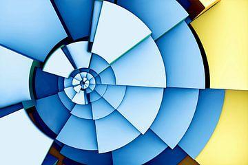 Gekleurde segmenten in blauw en geel van W J Kok
