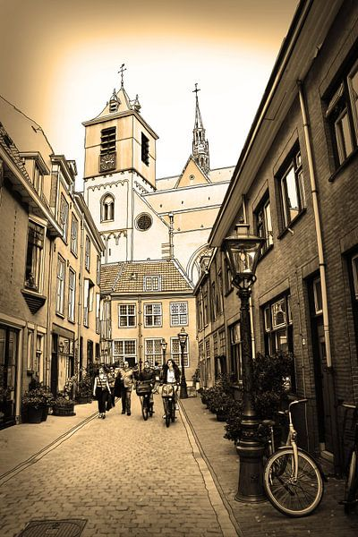 Sepia Pentekening Beschuitsteeg Leiden Nederland Tekening Lijntekening van Hendrik-Jan Kornelis
