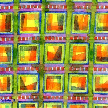 Light behind colorful geometric Windows  van