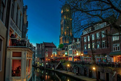 Oude gracht, Utrecht op een mooie lenteavond van