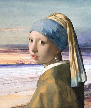 Meisje met de Parel bij de zee van Allerlei foto's