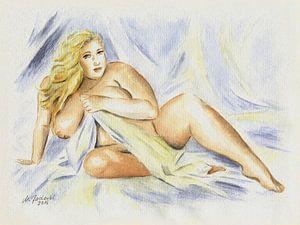 Kurvenreicher Frauenakt mit Tuch