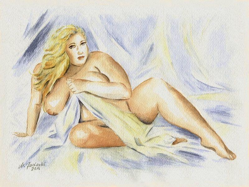 Kurvenreicher Frauenakt mit Tuch von Marita Zacharias