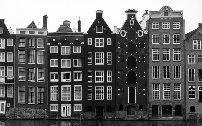 Façades des maisons du canal Amsterdam, panorama sur Roger VDB