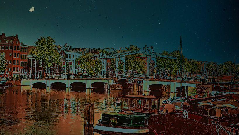 Skinny Brücke in der Nacht, Amsterdam von Digital Art Nederland