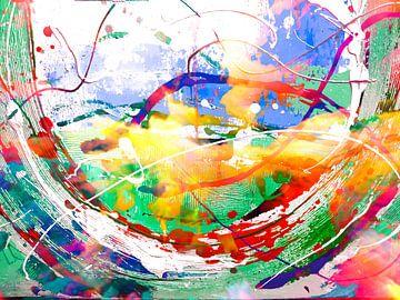 Moderne, abstrakte digitale Kunstwerke in Grün, Orange, Rot, Blau, Weiß von Art By Dominic