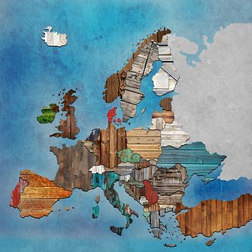 Kaart Europa hout van Rene Ladenius Digital Art