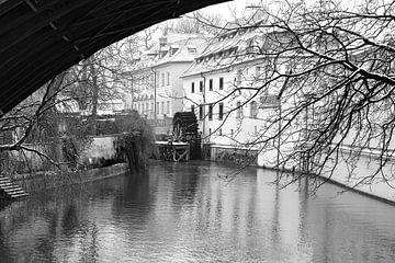 Praag, Karelsbrug, Waterrad von Rene du Chatenier