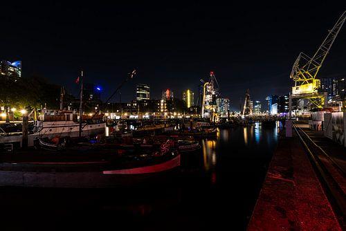 Rotterdam Nachtfoto over de haven van