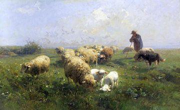 Zonnig weiland, schapen en herder, HEINRICH VON ZÜGEL, 1890
