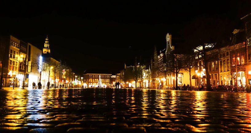 Vismarkt 's nachts van Groningen Stad