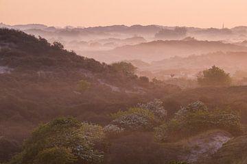 Duinen met mist bij zonsopkomst kerktoren van Katwijk van Menno van Duijn