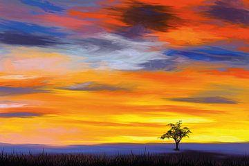 Ein einsamer Baum in der Abendsonne von Tanja Udelhofen