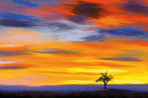 Een eenzame boom in de avondzon