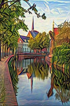 Abstract kunstwerk Amersfoort: Westsingel in de stijl van Picasso