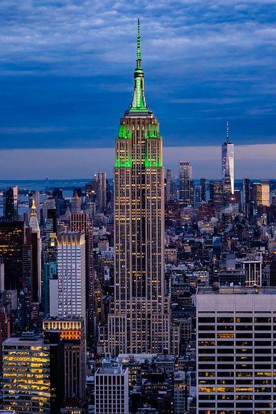 Zonsondergang over Empire State Building van Kimberly Lans