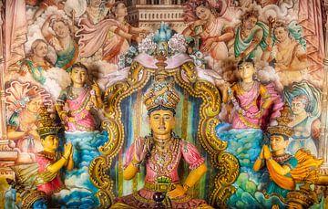 Boeddha beelden in Tempel,  Sri Lanka van Frans Lemmens