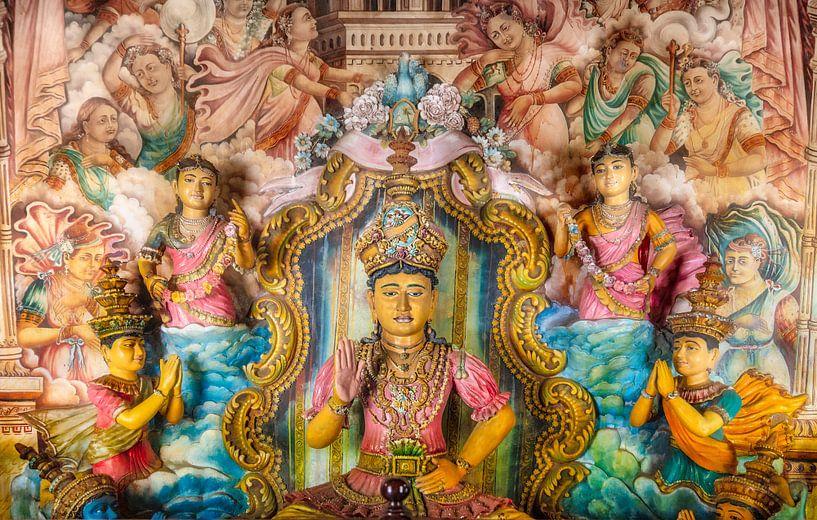 Buddha-Statuen im Maha-Vihara-Tempel, Waduwa, Sri Lanka von Frans Lemmens
