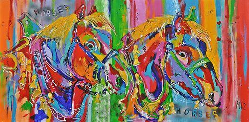 -Trekpaarden kleurrijk van Kunstenares Mir Mirthe Kolkman van der Klip