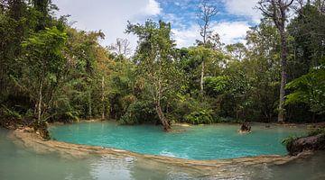 Waterplateau bij de Kuang Si waterval, Laos van Rietje Bulthuis