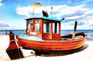 Old fishing boat on the beach of the Baltic Sea coast van Thomas Klee