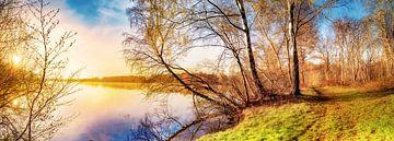 Zonsopgang aan het meer - de natuur op zijn best van Günter Albers