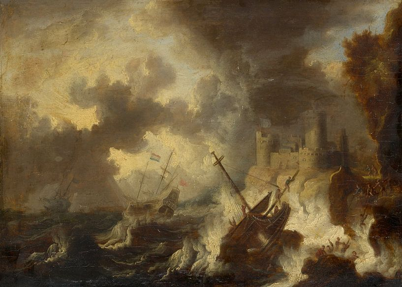 Sturm mit Schiffswrack vor einer Küstenfestung, Peter van de Velde von Meesterlijcke Meesters