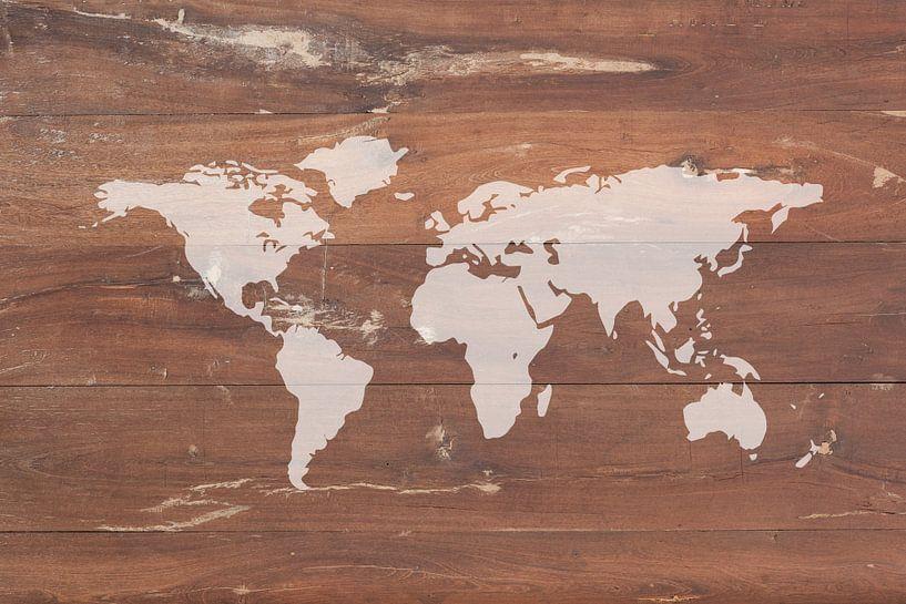 Wereldkaart op Hout van World Maps