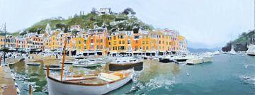 Een Panoramisch uitzicht vanaf de Kade van Portofino in Italië - Schilderij