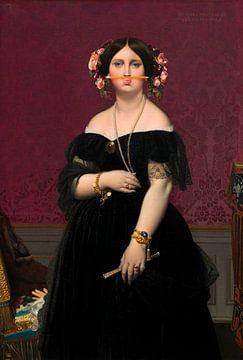 Portret van Marie-Clotilde-Inès Moitessier, geschilderd door Dominique Ingres, met potlood onder de van Maarten Knops