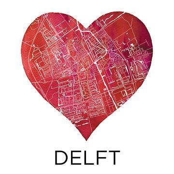 Liefde voor Delft  |  Stadskaart in een hart van Wereldkaarten.Shop