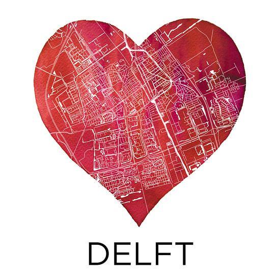Liefde voor Delft  |  Stadskaart in een hart