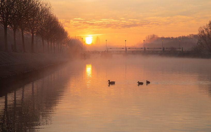 Gouden zonsopkomt boven de Leie aan de sluizen in Menen - Belgie van Fotografie Krist / Top Foto Vlaanderen