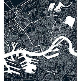 Rotterdam | Stadtplan schwarz weiß von - Wereldkaarten.shop -