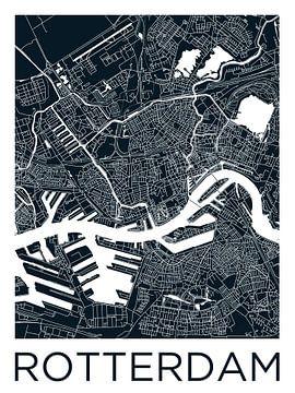Rotterdam | Stadskaart ZwartWit van - Wereldkaarten.shop -