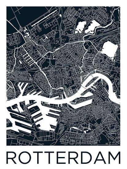 Rotterdam   Stadskaart ZwartWit van - Wereldkaarten.Shop -