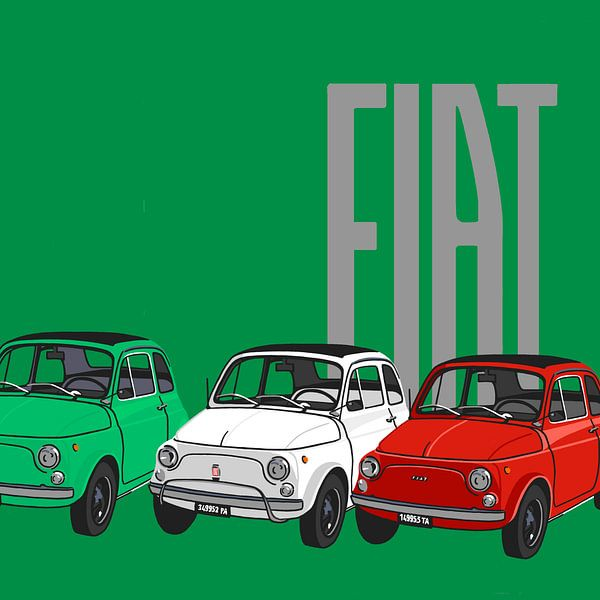 Fiat's op groen van Jole Art (Annejole Jacobs - de Jongh)
