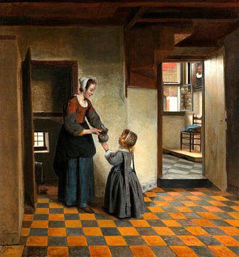 Frau mit einem Kind an der Speisekammer, Pieter de Hooch