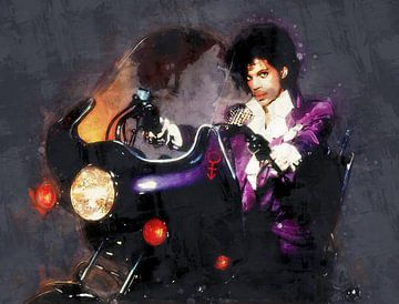 Olieverf portret van Prince (purple rain) van Bert Hooijer