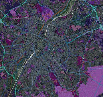 Kaart van Brussel in negatief van Atelier Liesjes