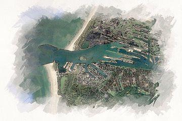 Kaart van IJmuiden van Aquarel Creative Design