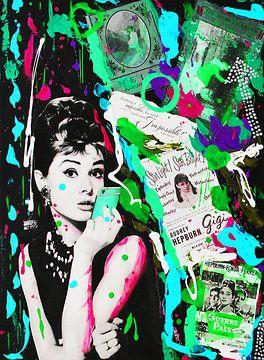Audrey Hepburn iPhone Blau Grün von Kathleen Artist Fine Art