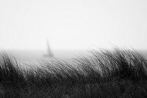 Silhouet van een zeiljacht van Rik Verslype