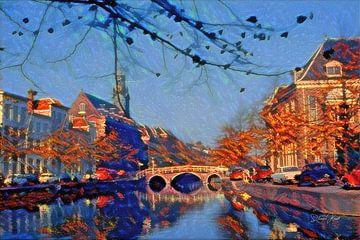 Stimmungsvolles Rapenburg Leiden mit Nonnenbrug und Akademiegebäude von Slimme Kunst.nl