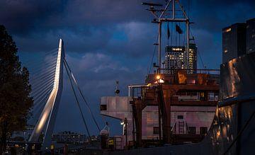 De haven in Rotterdam met de Erasmusbrug von Jordi Woerts